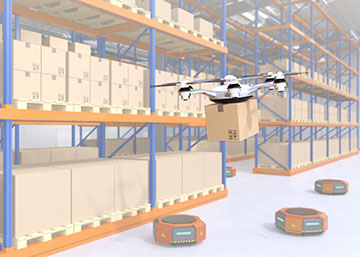 Drone and orange robots in modern warehouse. Advanced warehouse